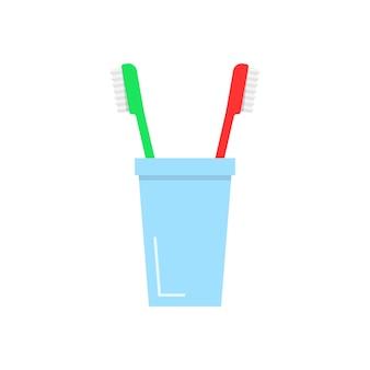ガラスの歯ブラシ。清潔さ、マグカップ、バスアイテム、へこみ、清楚さ、整頓、虫歯、歯磨きの概念。フラットスタイルのトレンドモダンなロゴデザインベクトルイラスト白地に