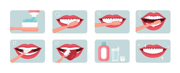 歯磨きステップイラストセット。適切な口腔ケア。コンセプトを使用して歯磨き粉とすすぎ。歯科医院の有益なバナー、ポスターのデザイン要素。美しい笑顔のフラットアイコンパック。