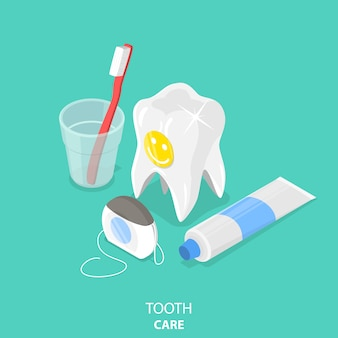 Tooth care flat isometric