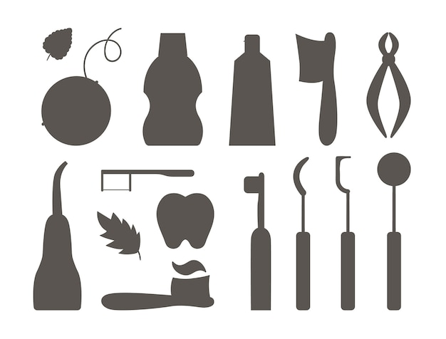 Tooth care tools vector silhouettes set. collection of elements for cleaning teeth. dentistry equipment isolated on white background. toothpaste, brush, floss illustration. dentist shadow icons pack