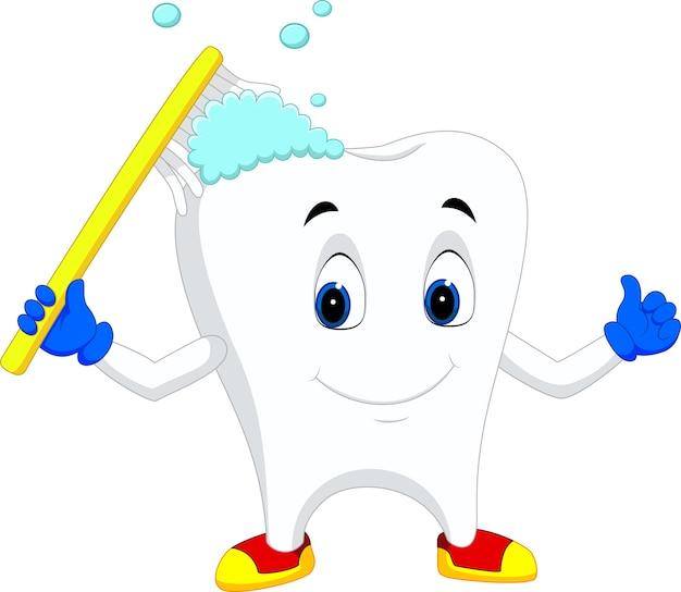 Tooth cartoon holding toothbrush