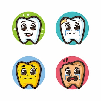 歯漫画セットバンドルマスコットデッサン Premiumベクター