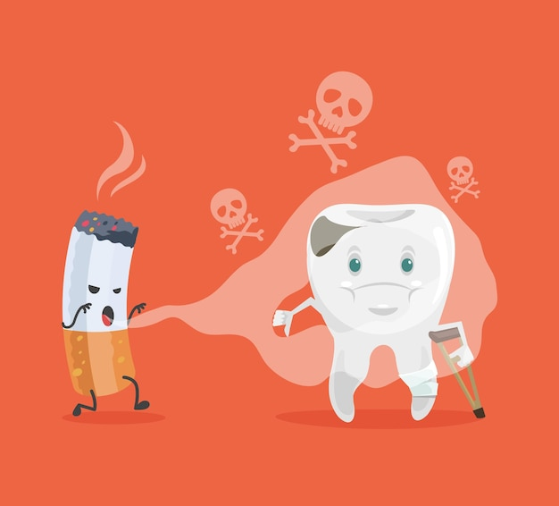 Tooth and cigarette characters cartoon illustration