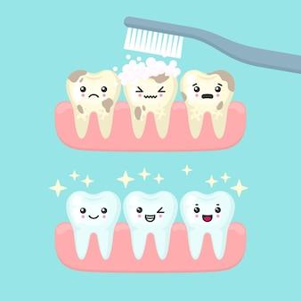 歯のクリーニングとブラッシングの口腔病学の概念。かわいい漫画の歯の孤立したイラスト