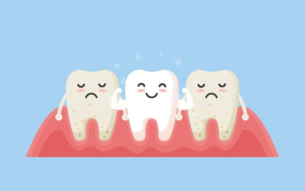 Tooth cleaning. teeth characters before and after whitening. cartoon tooth before and after cleaning or whitening or dental procedures.