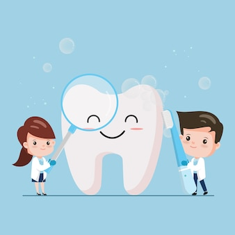 Tooth cleaning. teeth characters before and after whitening. dentist clear and clean teeth.