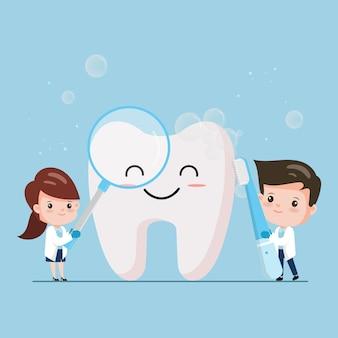 Чистка зубов. зубы персонажей до и после отбеливания. стоматолог чистые и чистые зубы.