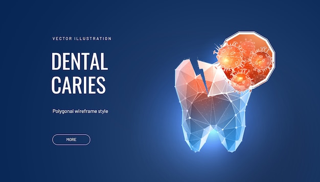 Tooth decay futuristic polygonal illustration