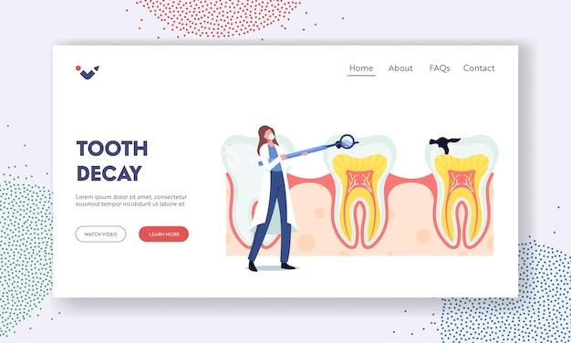 虫歯のランディングページテンプレート。小さな歯科医の女性医師のキャラクターは、巨大な歯の口腔鏡のケアを保持します。口腔病学クリニック、歯科、齲蝕予防。漫画のベクトル図