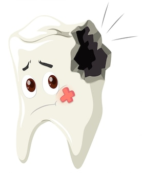 Tooth decay with sad face