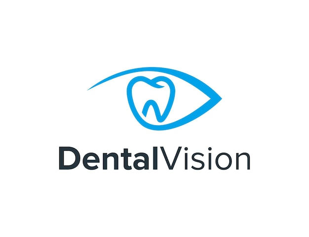 歯の歯科と目のシンプルで洗練された創造的な幾何学的なモダンなロゴデザイン