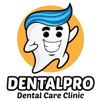 歯の歯科医院のロゴのマスコットテンプレート