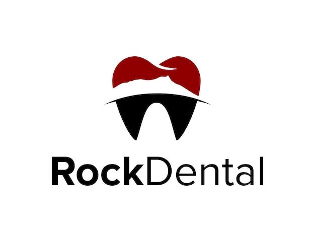 山の岩と歯の歯科シンプルで創造的な幾何学的な洗練されたモダンなロゴデザイン