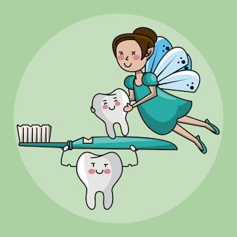 歯の妖精と歯のケア Premiumベクター
