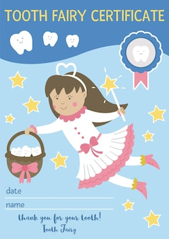 Tooth fairy certificate for teeth lost. cute vector document for kids. funny card template with kawaii fantasy princess. dental care picture for children. dentist baby clinic clipart