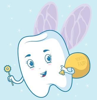 歯の妖精 。歯科衛生、ヘルスケア、歯科医、歯科デザインコンセプト