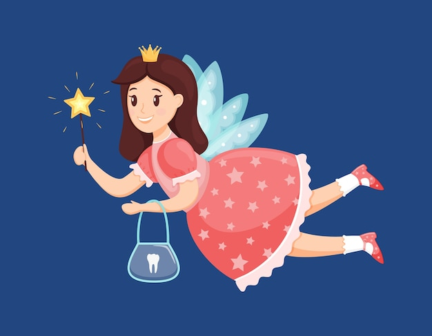 The tooth fairy flies and holds a magic wand