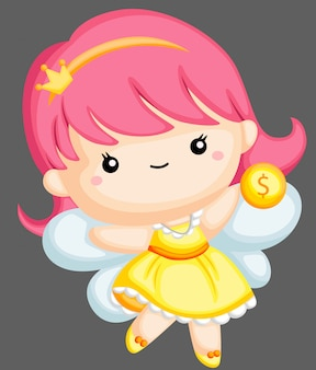 Tooth fairy holding coin