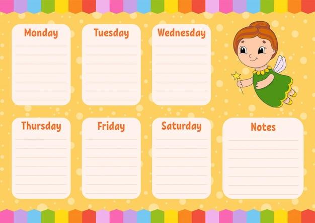 Tooth fairy. school schedule. timetable for schoolboys. empty template.