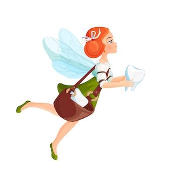Зубная фея с прозрачными крыльями в зеленом платье. рыжая красивая сказочная дама несет зубы в сумке и летит в изолированной реалистичной квартире.