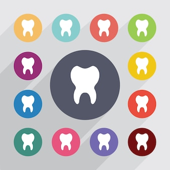 Tooth, flat icons set. round colourful buttons. vector