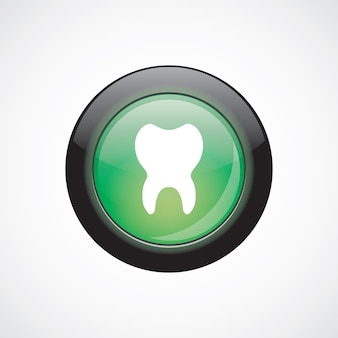 歯ガラスサインアイコン緑の光沢のあるボタン。 uiウェブサイトボタン