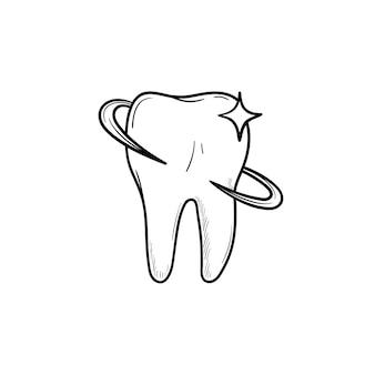 歯の健康と歯科治療の手描きのアウトライン落書きアイコン。歯科医、口腔病学および歯科医療の概念