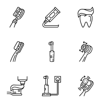 Tooth icon care set, outline style