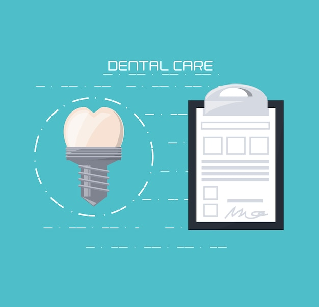 Tooth implant of dental care health hygiene and medical