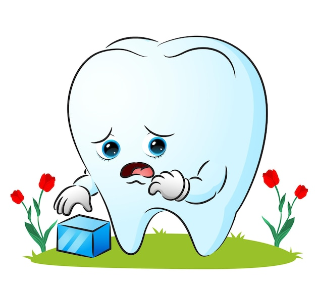 The tooth is feeling sick because of ice cube of illustration