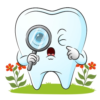 The tooth is looking with the magnifying glass of illustration