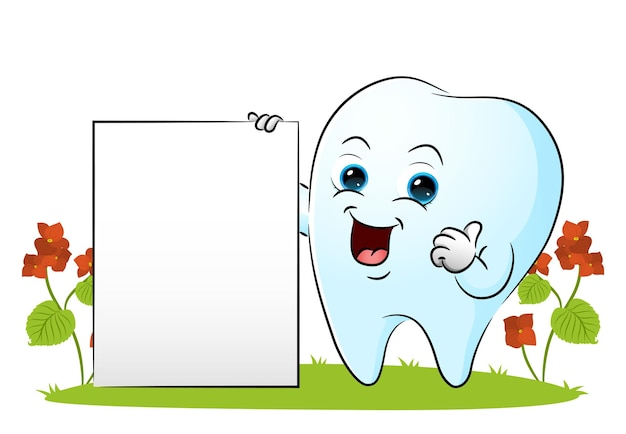 The tooth is showing the blank board and giving the thumb up of illustration
