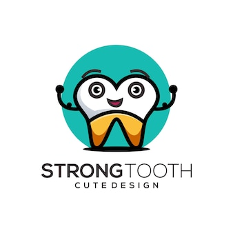 Tooth logo cute illustration abstract