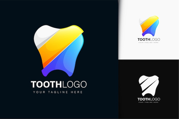 Tooth logo design with gradient