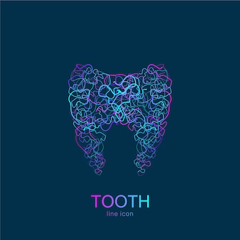 Логотип зуба в линейном стиле. стоматологическая клиника векторный шаблон абстрактного дизайна зуба. медицинский логотип, значок.