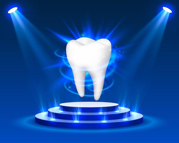 Зуб на синем фоне, элемент дизайна шаблона, векторные иллюстрации