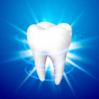 青い背景の上の歯、テンプレートデザイン要素、ベクトル図