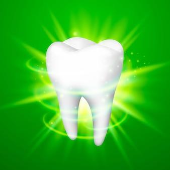 緑の背景の歯、テンプレートデザイン要素、ベクトル図