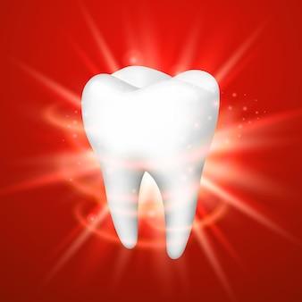 赤い背景の上の歯、テンプレートデザイン要素、ベクトル図