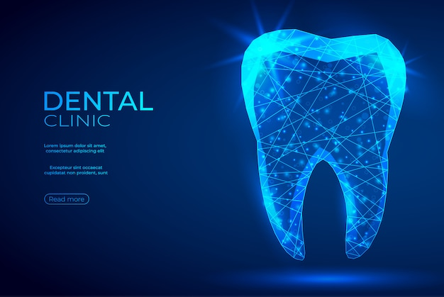 Tooth polygonal genetic engineering abstract blue banner.