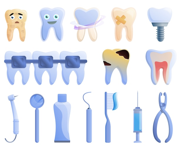 Tooth restoration icons set, cartoon style