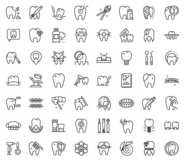 Tooth restoration icons set, outline style