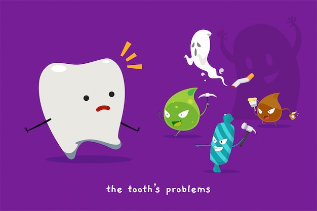 The tooth's problem. isolated vector illustration