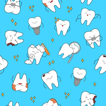 Tooth seamless pattern with cheerful characters teeth.