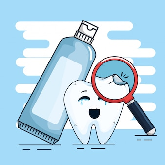 Tooth treatment with toothpaste and magnifying glass