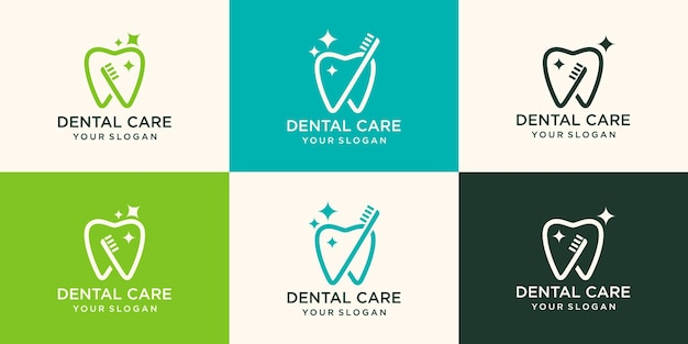 Tooth vector logo template for dentistry or dental clinic and health products.