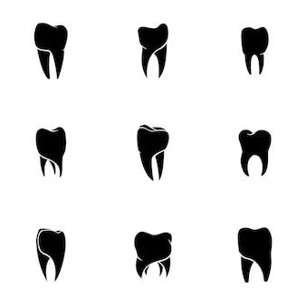 歯のベクトルを設定します。シンプルな歯の形のイラスト、編集可能な要素、ロゴデザインで使用できます