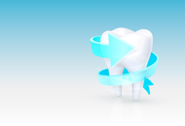 Tooth on a white background, template design element, vector illustration
