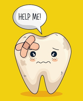 Tooth with aid care and hygiene treatment