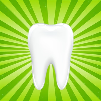 Tooth with beams, on green background with beams,  illustration